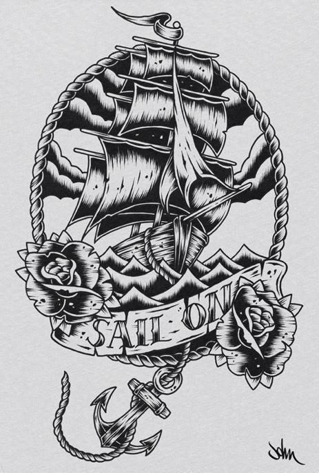 Vintage Sailboat Sketch ship tattoo outline | ...
