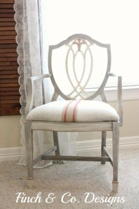 White Hand Painted Chair -- Inspired from George Hepplewhite Shield Back Chair