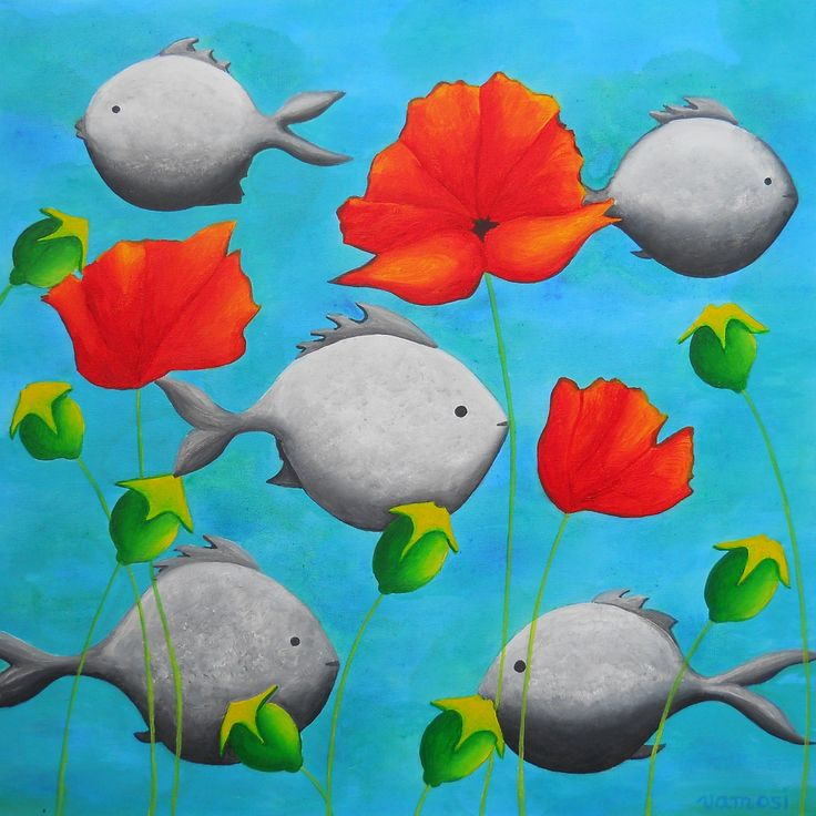 Fishes, acrylic on canvas, 50x50 cm, 2015,  from artist Peter Vamosi.
