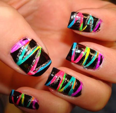 Black with neon stripes and glitter. So neat!