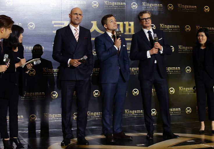 "New Trending Celebrity Looks: Mark Strong, Taron Egerton and Colin Firth at the ""Kingsman: The Golden Circle"" Seoul Premiere. And now for some hot English men in some cool, probably British, but definitely impeccable suiting:          Lined up for your convenience. That's all.       [Photo Credit: INSTARImages.com, Getty Images]  Colin Firth Kingsman: The Golden Circle Mark Strong Movie..."