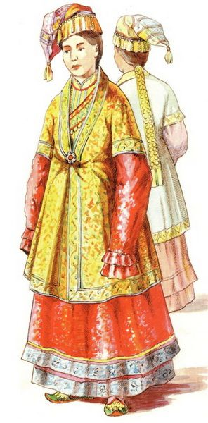 Tatar costume beginnings of V mid XIX century. Kazan Tatar