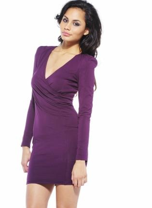 Purple Long Sleeve Dress with V-Neck Front,  Dress, long sleeve dress  v-neck, Chic