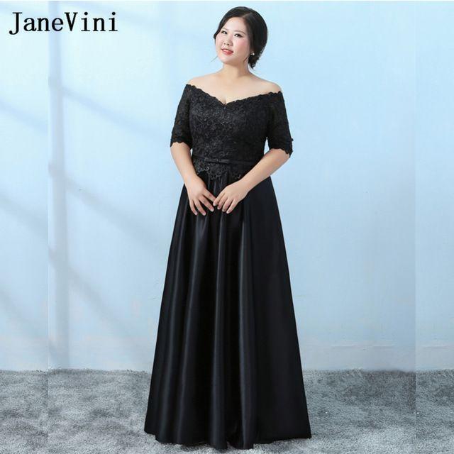 a8eb3efde40 JaneVini Vestido De Novia Censillo 2018 Wedding Mother Dress Godmother Long  Plus Size Black Lace Mother of The Bride Dresses
