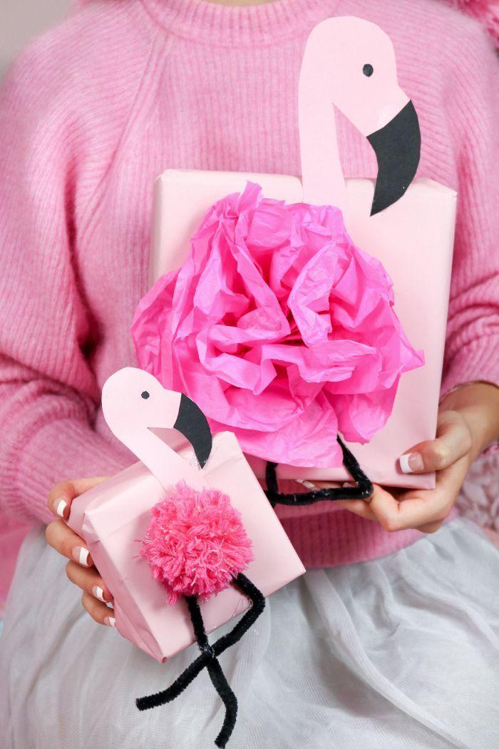 DIY Flamingo Geschenkverpackung basteln: 3 kreative Geschenk Ideen