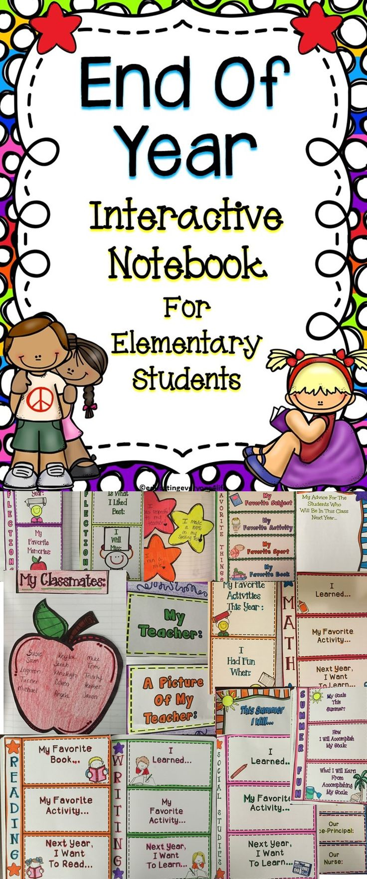 End Of Year Interactive Notebook Activities For Students - This is a great collection of activities to celebrate the end of the school year! #ideas