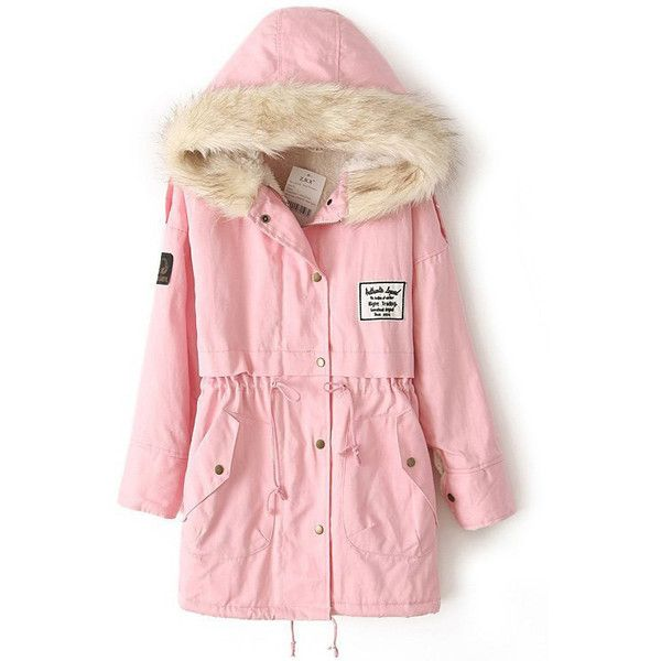 Candy Parka with Faux Fur Hood (745 ARS) ❤ liked on Polyvore featuring outerwear, coats, faux fur hood coat, oversized hood coat, faux fur coat, pastel coats and pink fake fur coat