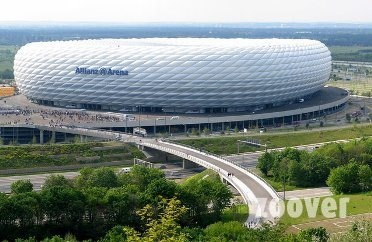 Alianze Arena - Munich, Germany football arena.  Special effects lighting can be used in various designs to light up the dome of the building.