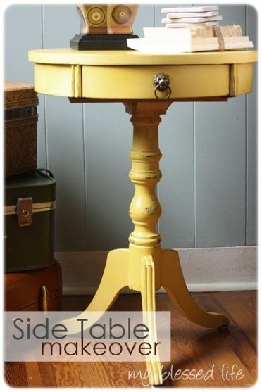 Lovely side table makeover grandmothers drums and for Yellow painted table