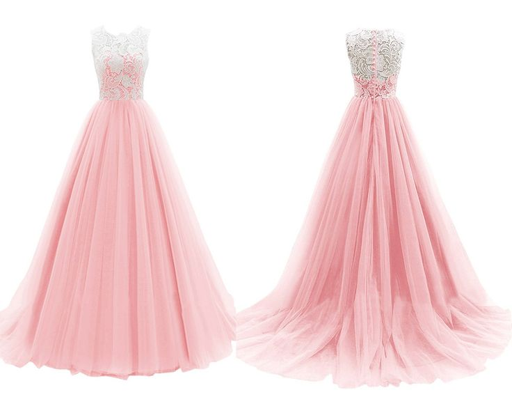 Pastel Pink A-line Jewel Neck Lace Top Floor Length Chiffon Prom Dress #prom #party #dress