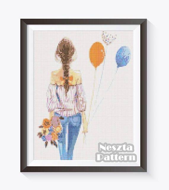 Girl Cross Stitch Pattern, Romantic girl Home decor x stitch pattern, Cross stitch Embroidery, Embroidery pattern