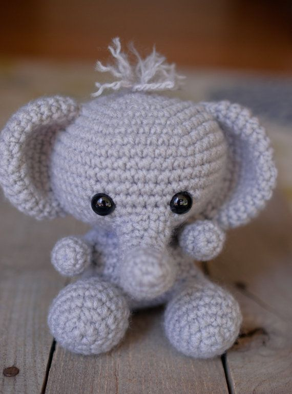 ******PLEASE NOTE: THIS IS A DIGITAL CROCHET PATTERN****** Create your own adorable little elephant in just a few hours! This super simple pattern includes one PDF file with detailed instructions on how to crochet and assemble all the parts to make this elephant. Only basic crocheting skills will be needed to make this pattern: chain, single crochet, increasing and decreasing. Difficulty: Easy Materials needed will be: a crochet hook size G/4.00mm worsted weight acrylic yarn in gray (and…