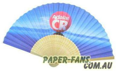 Promotional Bamboo paper fans  This natural bamboo paper fan is 7inches (21cm) ,used as give-away gifts, wedding fan, promotional fans. Could be any color you want and with the logo on the fan face and fan handles.  No limit for plain fan or one logo on the fan handle order price is 1.30 AUD per piece including the transportation by DHL.  Minimum order quantity for full color printing is 500pieces; price is 1.85AUD per piece including the transportation by DHL