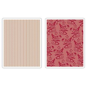 Sizzix Textured Impressions Embossing Folders 2PK - Botanicals & Beaded Ribbons Set $10.99