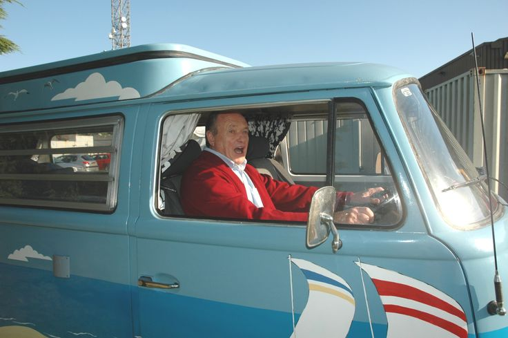James Bolam at the wheel of Campo or Mr Blue Sky as we know him