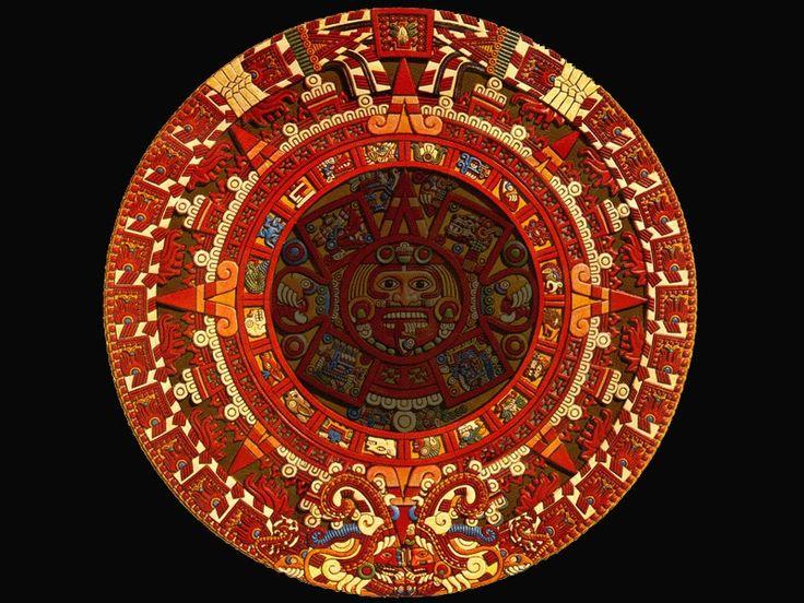 La vía Láctea - El séptimo está compuesto por sesenta y cuatro figuras que representan a Júpiter. Estos círculos, del 4º al 7º, son los anillos del cómputo de los años. En el círculo exterior, llamado de la Vía Láctea porque representa el Cielo, se reúnen dos serpientes llameantes, con la cabeza hacia abajo y escupiendo, como dos rostros que representan el día y la noche, la dualidad. Estas serpientes nacen del jeroglífico del 13 de acatl, que indica la fecha de la celebración del Fuego…