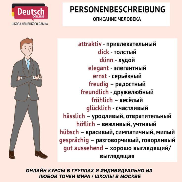 свои описание картинки с человеком на немецком развода совсем