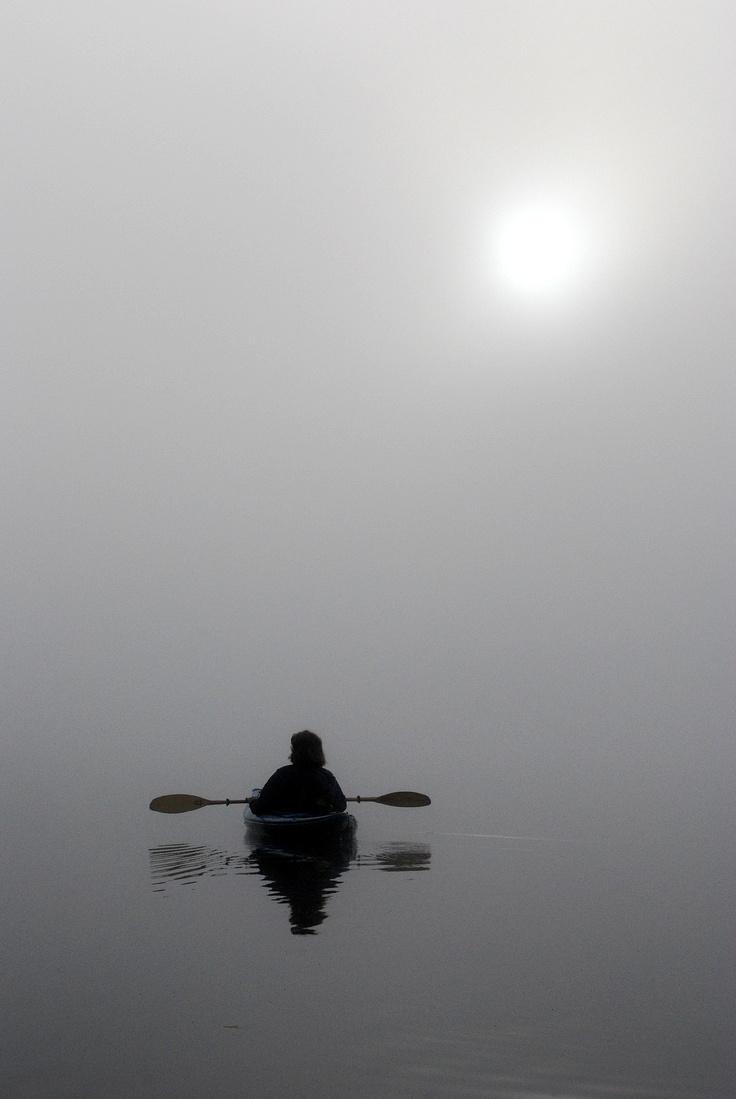Karen in mist, Twitchell Lake