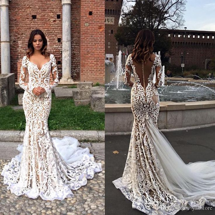 modest lace mermaid wedding dresses with long sleeves v neck trumpet illusion backless bridal gowns sweep train wedding dress