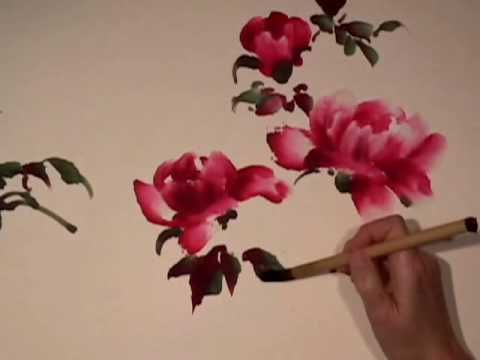 Peony & Butterfly part 1 - Chinese Brush Painting by Virginia Lloyd-Davies