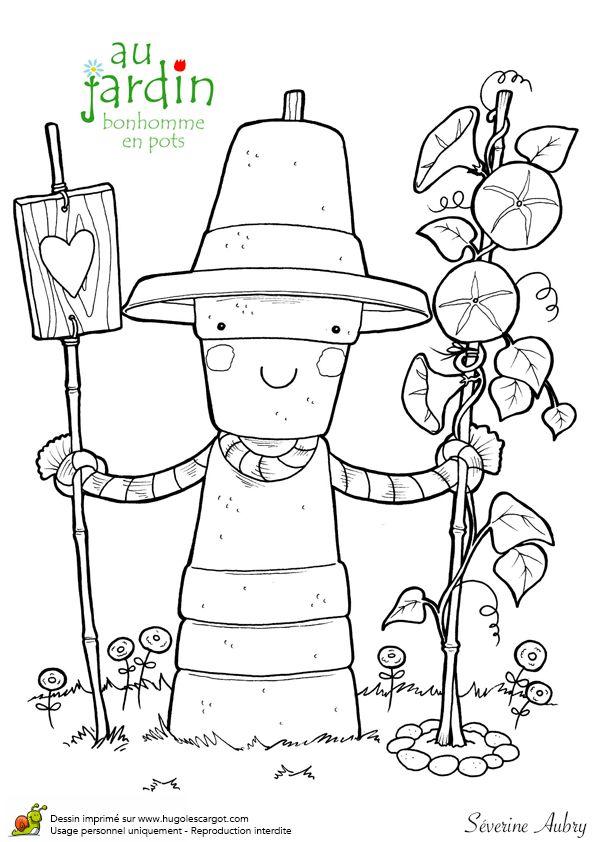 Coloriages jardinage bonhomme en pots