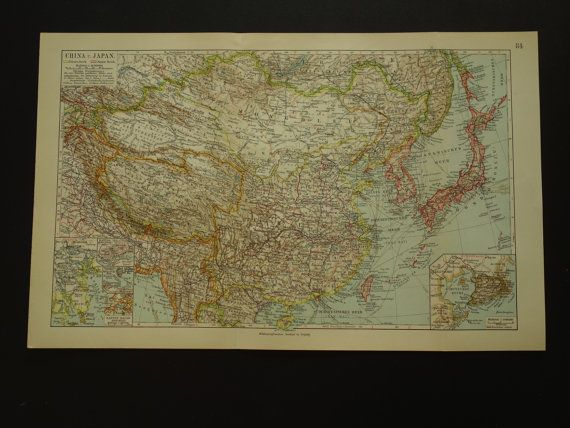 CHINA map  original 1913 detailed old antique by VintageOldMaps