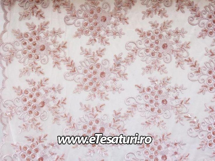 Dantela diamond roz prafuit - Tesaturi sintetice