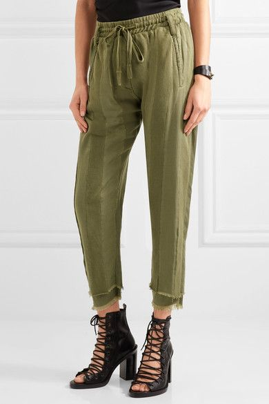 Haider Ackermann - Frayed Paneled Jersey And Cotton-twill Track Pants - Army green - medium