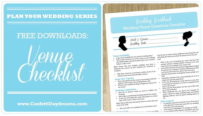 100 Question Wedding Venue Checklist {Printable} | Confetti Daydreams | Confetti Daydreams - Checklist of what to look for, what to budget for and what to ask when searching for your dream wedding venue! GRAB YOUR FREE WEDDING VENUE CHECKLIST {PRINTABLE} ♥ #Venue #Wedding #Checklist  ♥  ♥  ♥ LIKE US ON FB: www.facebook.com/confettidaydreams  ♥  ♥  ♥