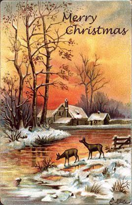 Christmas Landscape Vintage Cards for Xmas and Holidays,  Vintage Landscape -  Landscapes - Vintages Cards -  landscape, vintage, xmas, christmas, holidays, free, clipart,