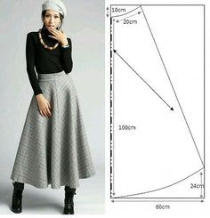 Falda larga clásica con patrón