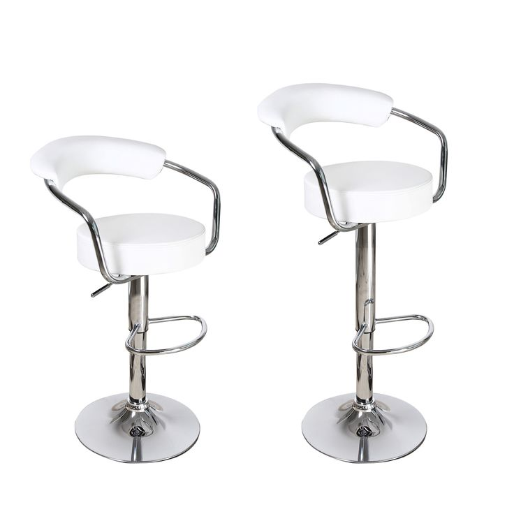 This contemporary barstool set is covered in elegant white leatherette upholstery with a sturdy steel base finished in shiny chrome. Bring a modern touch to your home while maximizing your dining and entertainment area with this handsome set.