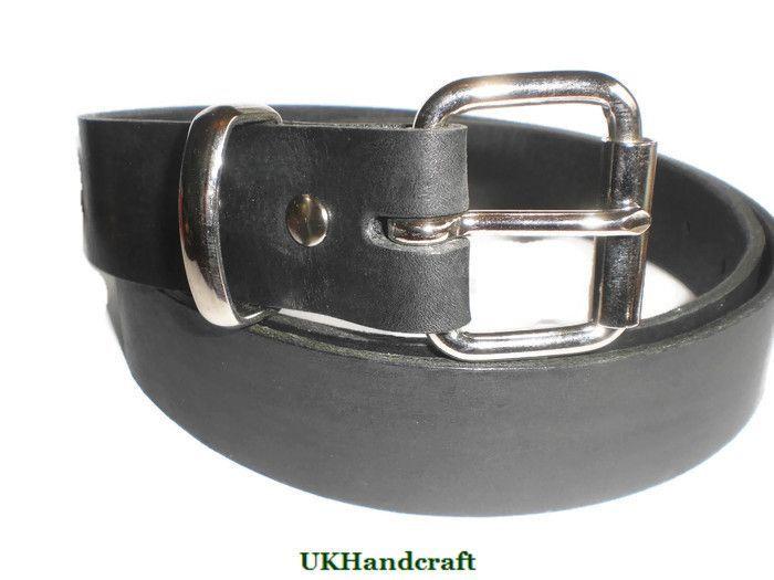 Black Leather Belt Men | Handmade in Great Britain | Leather Gift for Men Him | Full Grain Black Leather | Casual Formal | UKHandcraft