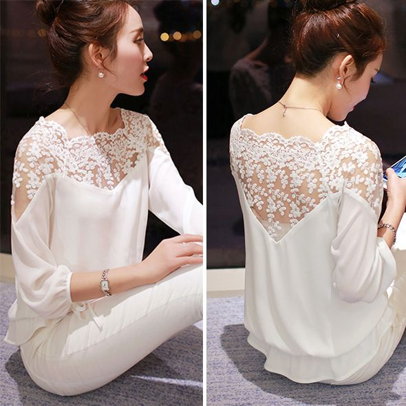 Plus Size Women Chiffon Blouses 2015 Summer Ladies Office Lace Blouse Shirt Women White And Black Blouses Income Female Tops