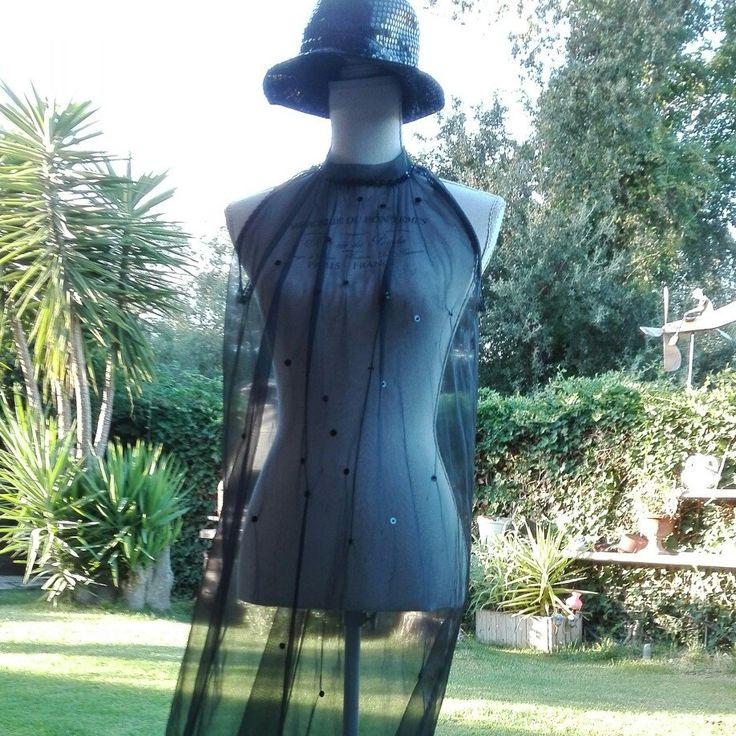 Halloween coordinato camicia da notte e vestaglia fascinosa nero tulle pipistrello