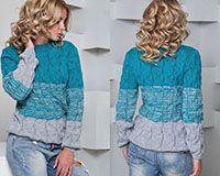 Вязанный свитер бирюзово-серый