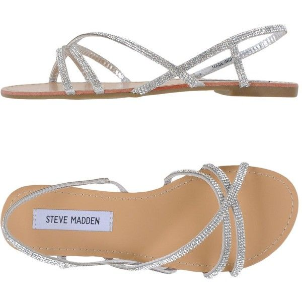Steve Madden Sandals ($55) ❤ liked on Polyvore featuring shoes, sandals, silver, rhinestone flat sandals, round toe shoes, rhinestone flat shoes, rubber sole shoes and rhinestone sandals