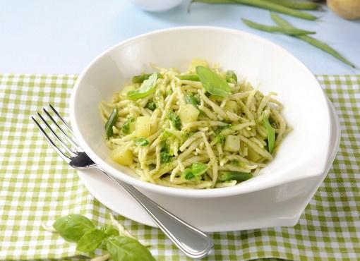 Trofiette fresche rana con Pesto fresco basilico genovese DOP, patate e fagiolini