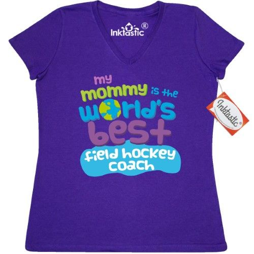 Inktastic Field Hockey Coach Gifts For Kids Women's V-Neck T-Shirt Auditing Clothing Apparel Clothes Occupation Job Cute Tees Adult Hws, Size: XL, Purple