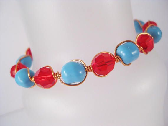 Copper Wire Wrapped Cuff Bracelet with Red and Turquoise