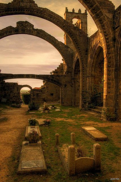 Ruins of Santa Mariña de Dozo in Cambados, Spain (by sıɐԀ ɹǝıʌɐſ). Appears to be full of history - Love.