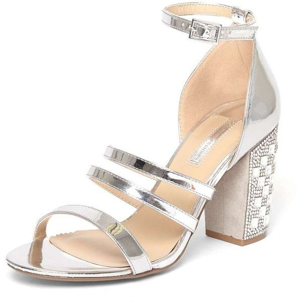 Dorothy Perkins Exclusive Silver 'Shadow' Embellished Sandals (675 MAD) ❤ liked on Polyvore featuring shoes, sandals, silver, embellished heeled sandals, silver heeled sandals, dorothy perkins, silver high heel shoes and silver embellished sandals