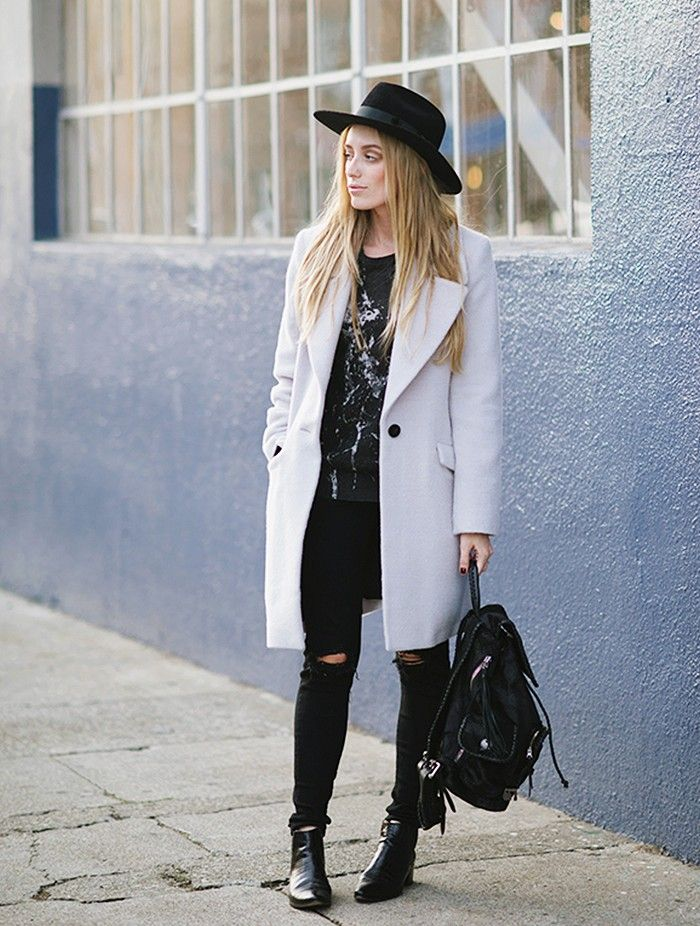 Eat Sleep Wear blogger edges up her classic coat with ripped rocker jeans, leather backpack, and black fedora