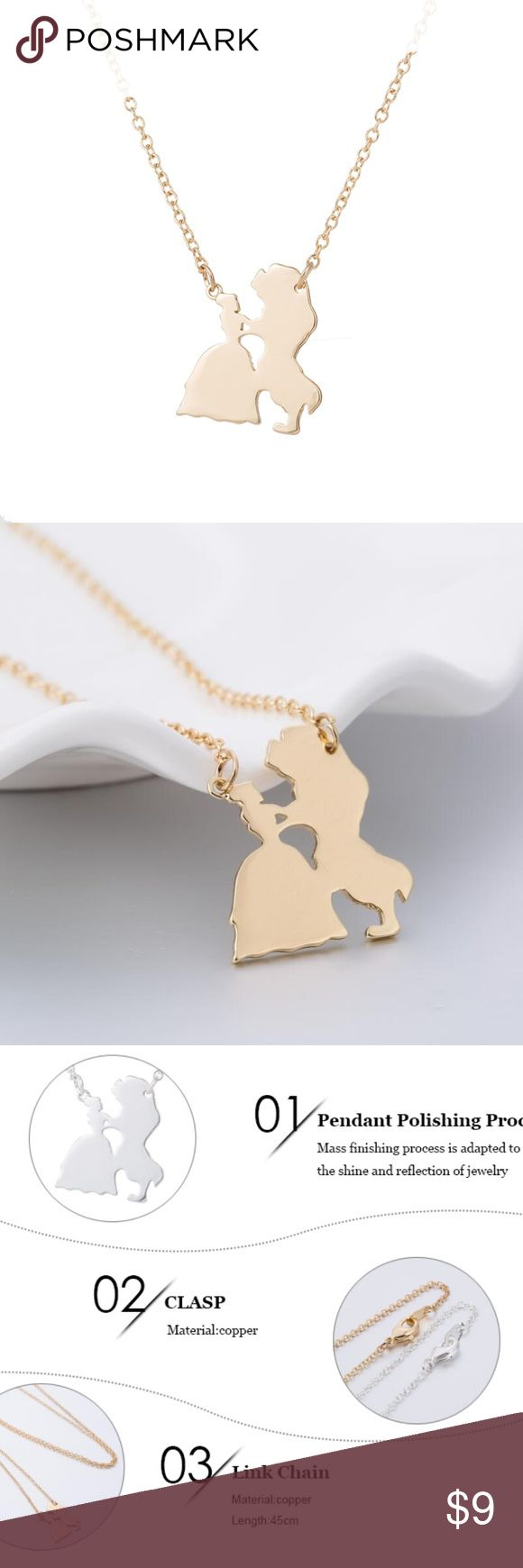 Beauty and the Beast Gold Silhouette Necklace NEW Beauty and the Beast Gold Silhouette Necklace NEW  This necklace is composed of a copper alloy to prevent rust.  Chain is 18 inches long.  Pendant is 0.75 inches by 0.625 inches. Jewelry Necklaces
