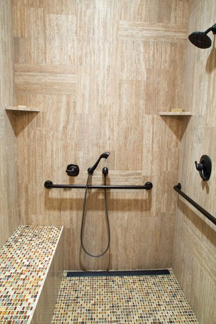 CONSIDER BEING ACCESSIBLE:  Handbars, benches and 6' handheld sprayer to go the distance.  Other considerations are a curbless shower, a shower bench, grab bars that can also hold towels, slip-resistant tile (and larger grout lines on shower floors) and proper lighting.