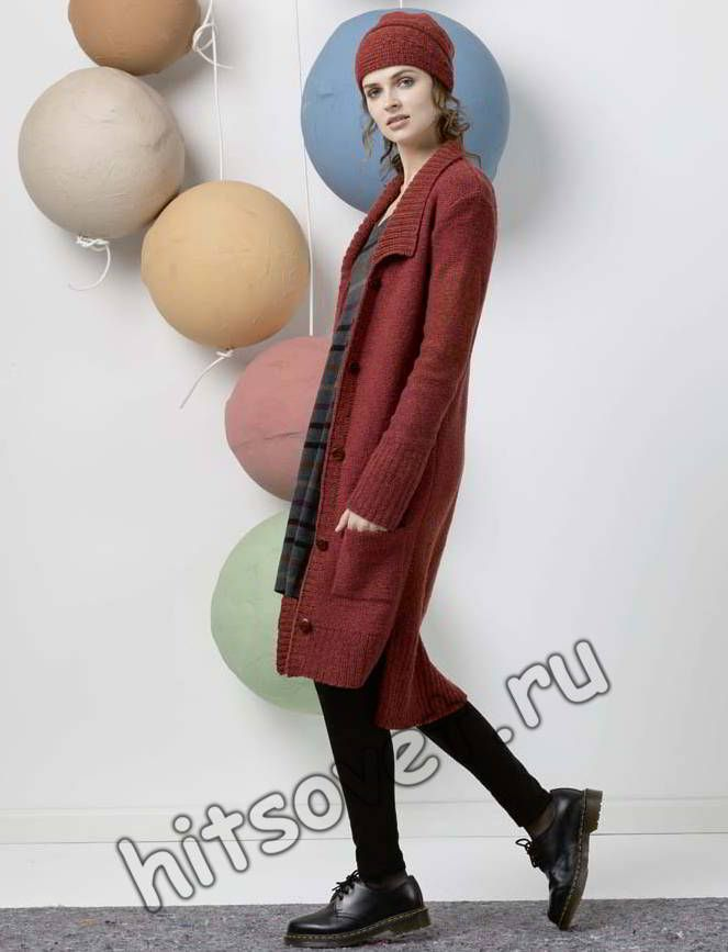 Стильное вязаное пальто, фото 2.