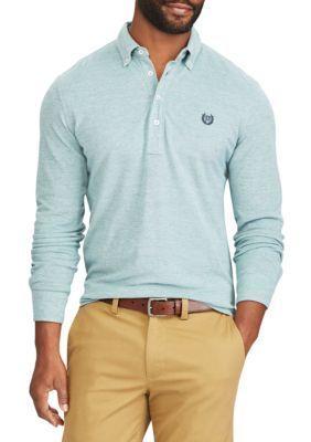 Chaps Men's Knit Oxford Popover - Green - 3Xlt