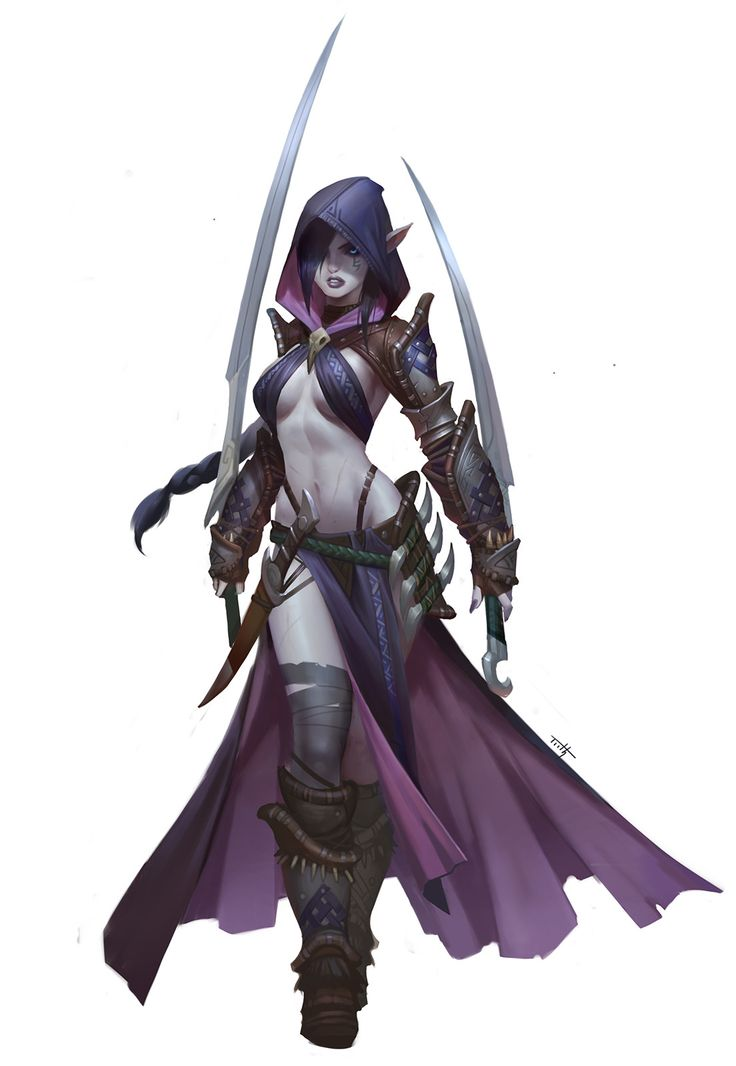 Dark elf assassin, Tooth Wu on ArtStation at https://www.artstation.com/artwork/Yokq6?utm_campaign=notify&utm_medium=email&utm_source=notifications_mailer