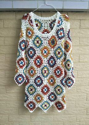 Crochet Granny Square Dress Long Sleeves by TinaCrochet2016 Mais