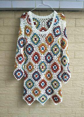 Crochet Granny Square Dress Long Sleeves by TinaCrochet2016                                                                                                                                                                                 Mais